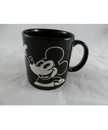 Vintage Disney Black And White Mickey Mouse Dimensional Coffee Mug Cup - $10.39