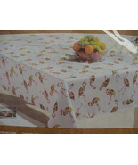 "Cynthia Rowley Floral Flamingos Indoor/Outdoor Tablecloth 84"" Oblong - $38.00"