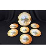 Vintage Eleanor Bavaria 7 Piece Cake Plate Set Windmill Lake - $39.99