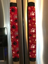 Refrigerator Door Handle Covers Set of 2 Red Dog Paws Theme 13L X5W - $12.99