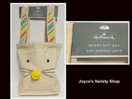 "Hallmark Bunny Gift Bag Burlap 18"" x 10"" x 3"" Bunny Face NWT - $7.99"