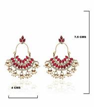 Pearl Ruby Dangle & Drop Earrings For Women Ethnic Bali Bollywood New a290 - $19.79