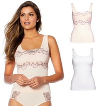 Rhonda Shear Lace-Overlay Tank with Shelf Bra 2-pack in Pink/White, S (6... - $15.83