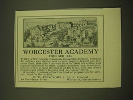 1918 Worcester Academy Ad -Founded 1834 - $14.99