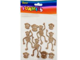 Darice Foamies Gold Glittered Monkey Stickers #106-738