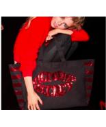 Victoria Secret Black Red Sequin Bling Lips Stripe Weekender Large Tote ... - $34.64