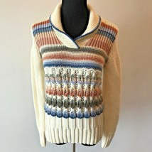 Vintage 1980s 20 Ans Knits Mariea Kim Sweater size S M Ivory Blue Brown SV - $19.95