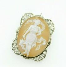 Art Deco 14K Gold Filigree Full Figure Genuine Natural Shell Cameo Pin (... - $325.00