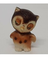 Sleepy Owl Brown Miniature Animal Owlet Bird Collectible Shadowbox Figurine Wise - $9.89
