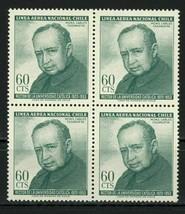 Chile Mons. Carlos Casanueva Rector Univ. Catolica Block of 4 Stamps MNH - $11.91