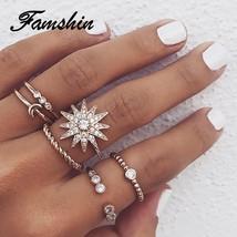 FAMSHIN 6 Pcs/Set Bohemian Vintage Big Flower Knuckle Rings Set 2018 For Women G - $9.71