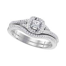 10k White Gold Princess Diamond Bridal Wedding Engagement Ring Band Set 1/3 Cttw - $578.00