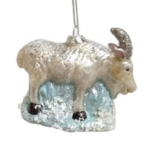Hand-Painted MOUNTAIN GOAT Large Glass Christmas Ornament - $26.00