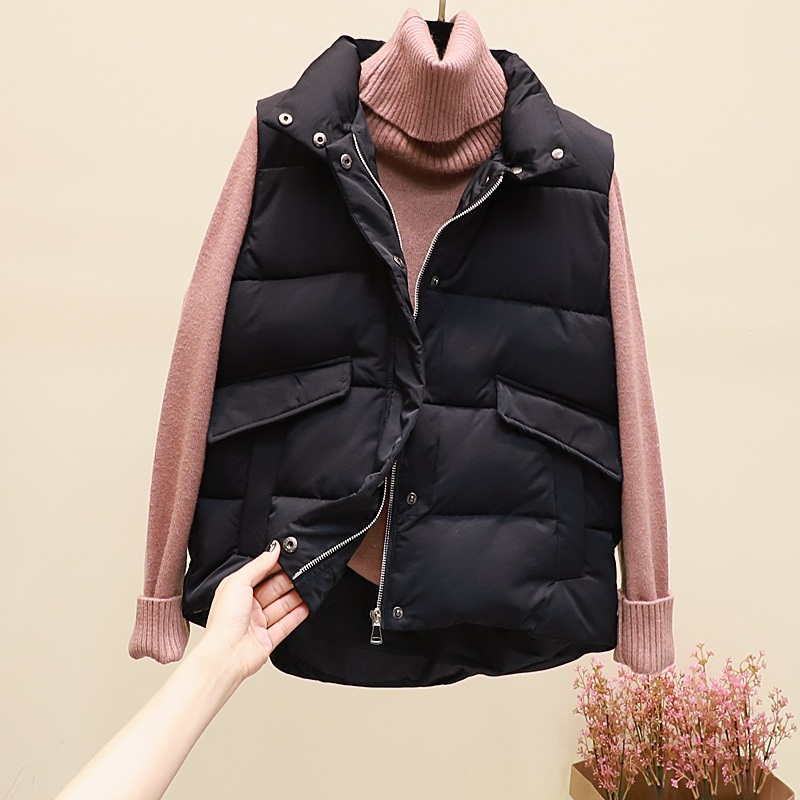 New black warm padded winter vest with pockets stand collar sleeveless waistcoat image 3