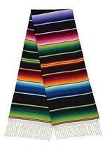 Black Sarape Style Falsa Blanket Classic Mexican Serape Pattern Hand Wov... - $34.21 CAD