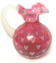 "Fenton Cranberry  Heart Optic Sentiments Ccollection 7"" Pitcher - $156.42"