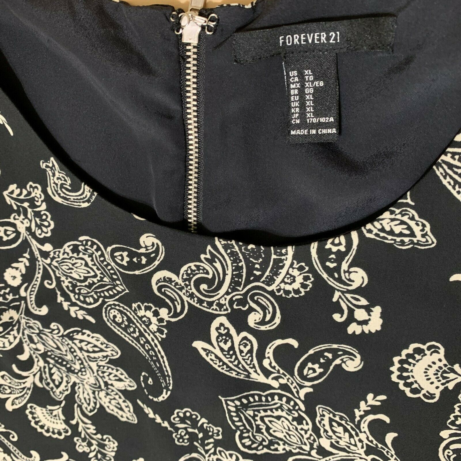 Forever 21 contemporary dress black and cream print size XL