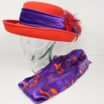 RED HAT SOCIETY Wool RED/PURPLE FEATHERS w/ Free Scarf  - $28.49