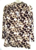 Alfani Black Brown Tan and White Mottled Print Top Polyester Blend Size XL - $18.99