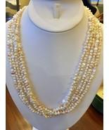 "Off white Keshi seed Pearl 5 Strand Necklace 32"" Freshwater Rhinestone F... - $54.40"