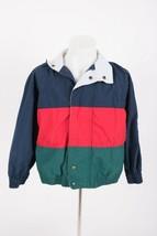 Izod Boys Vintage 80s Nylon Track Jacket Small Windbreaker Full Zip Stri... - $23.75