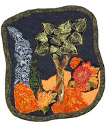 Golden Tree at Night: Quilted Art Wall Hanging - $370.00