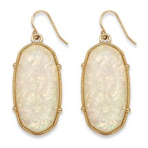 "PalmBeach Jewelry Aurora Borealis Simulated Opal Gold Tone Drop Earrings 1"" - $15.99"