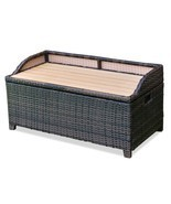50 Gallon Patio Garden Rattan Wicker Storage Bench - $127.99