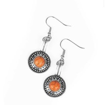 Silver Dangle Earrings With Round Orange Crackle Stone Fashion Costume  ... - $5.93