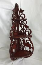 vintage BLACK FOREST DEER STAG BIRD WOOD SHELF ornate wall tramp art fre... - $224.95