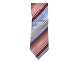 """Kenneth Cole New York Neck Tie Violet Blue Pink Striped 100% Silk 57"""" Long - $12.48"""