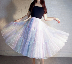 Women Girl Rainbow Long Tulle Skirt Polka Dot Rainbow Skirt Holiday Skirt Outfit image 9