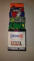 Grateful dead mens casual crew socks 6 pair fits shoe size 8 12  design two - $23.95