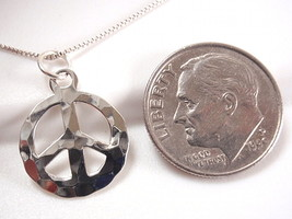 Hammered Peace Symbol Pendant 925 Sterling Silver Corona Sun Jewelry Pacifism - $8.90