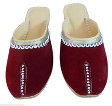 Women Slippers Indian Handmade Clogs Leather Mojari Maroon US 10  - $24.99