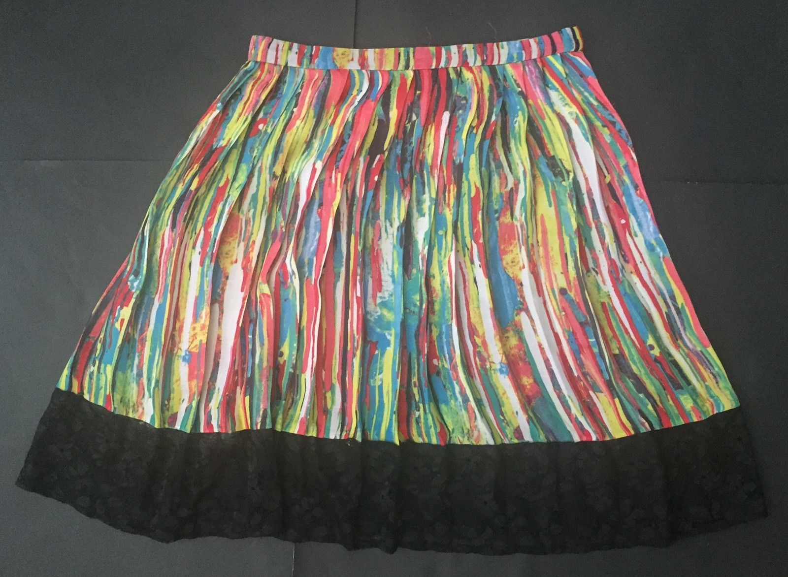 Prabal Gurung For Target Skirt 4 Bright Mulitcolor Black Lace Trim Pleated