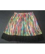 Prabal Gurung For Target Skirt 4 Bright Mulitcolor Black Lace Trim Pleated - $19.79