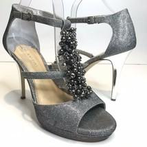 Gianni Bini Womens 10M Silver Beads Strappy Silver Mirror Stiletto Heel  - $19.59