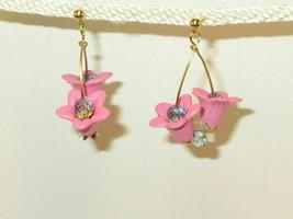 Hoop Flower Pink with pink Crystal on Hoop Earrings hook HC - $9.99