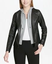 New $140 Calvin Klein Faux-Leather Gray Hoodie Black Jacket Coat Size XL - $91.78