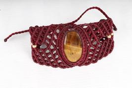 Tigers Eye stone Macrame Bracelet Stone Hippie Handmade Vegan Jewellery ... - $16.00
