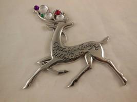 "American Greetings Silver Plated Reindeer  christmas ornament 4"" x 4"" - $6.23"