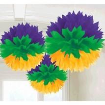 Mardi Gras Hanging Fluffy Purple Green Yellow Party Decorations Honeycomb - $8.99