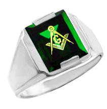 Freemason Verde Circonita Cúbica ESCUADRA Y BRÚJULA Plata Masónico Anill... - $49.98