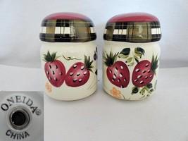 Oneida Strawberry Plaid Salt & Pepper Shaker Set - $13.32