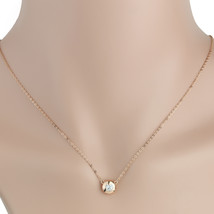 UE- Stylish Rose Tone Necklace With Heart Shaped Swarovski Style Crystal Pendant - $11.99