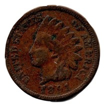 1891 Indian Head Cent Circulated abt Very good - $3.99