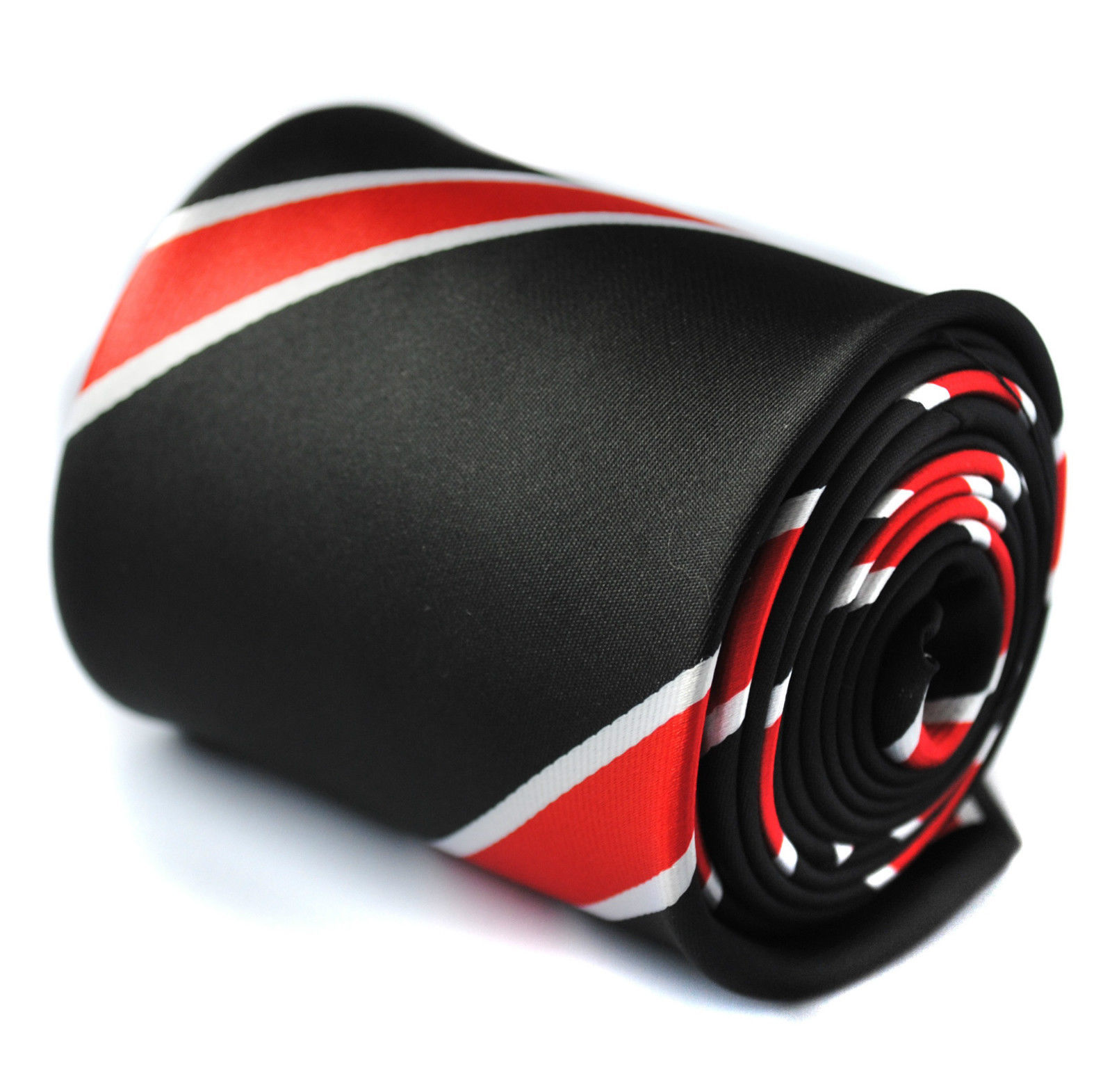 Black & Red Striped Mens Tie Frederick Thomas FT442