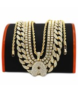 5 pcs Bundle Set 14k Gold Plated Hip Hop Fully Cz Iced Out Chain Letter ... - $48.95