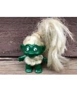 Rare Vintage Dark Green Body Troll Doll w Long White Hair 1960's Beard Necklace  - $59.35